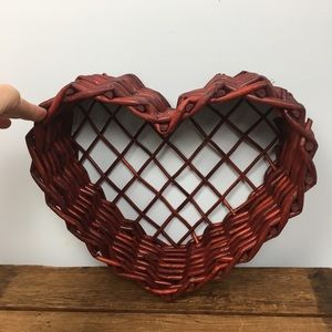 Heart Shaped Red Stained Willow Basket Planter